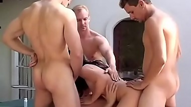 Young slut hooks up with three men for a good fuck
