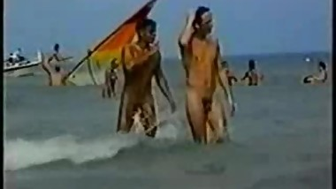 Naked men at European nude beach 80's.