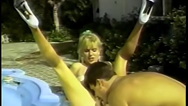 Perfect body retro blonde gets cum on tits at the pool