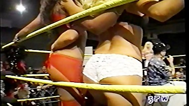 Jasmin St. Claire taking on Georgeous george in a bra and panties match wwe