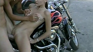 Teen sluts share a big cock on older biker! Hot teen girls with amazing ass