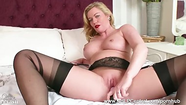 Hot Milf Holly Kiss toys wet pussy in black nylons kinky high heels garters