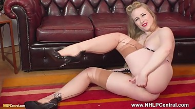 Retro blonde Satin Spark fingers herself in vintage nylons heels garters