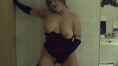 Amateur Wife Strips in Dark Bathroom with Gloves and Nylons