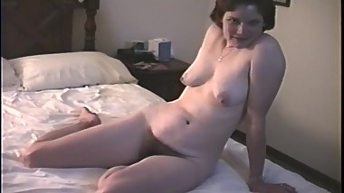 Young American exposed wife Barbara, hairy pussy and tits, filmed 1980s
