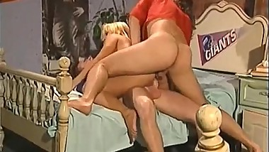 Blonde Fucks Two Dudes In Her Dorm Room