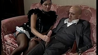 Short hair brunette sucks and rides a big cock