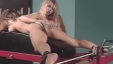 Stockings clad blonde whipped while teasing bound sub