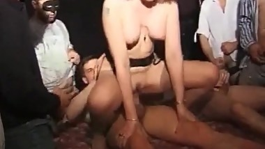 Hardcore gangbang with nasty blonde whore
