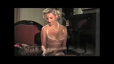 Secrets In Lace - Blonde Satin LINGERIE MODEL- Puts On Stockings - HD