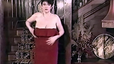 RED DRESS, BIG TITS - vintage English hairy striptease