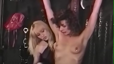 Nubile brunette crotch dominated with lesbian BDSM