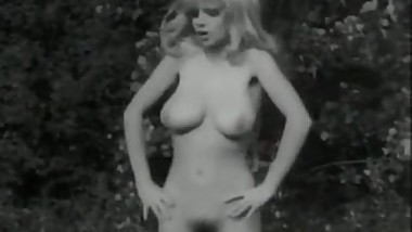 Vintage B&amp_W Swedish blond with big boobs and hairy pussy dancing