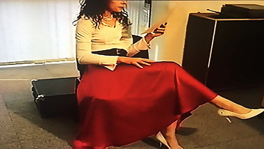 Office Girl in Satin Skirt 2