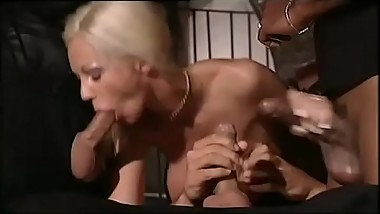 Blonde wildly fucked by a gang bang