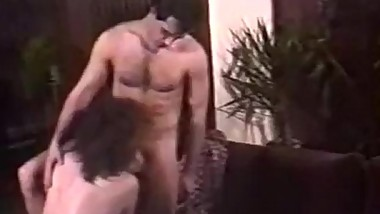 Retro couple passionate foreplay