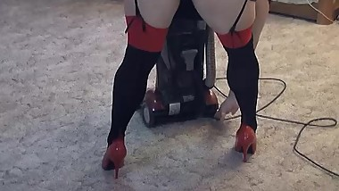 Vacuuming High Heels Fetish - ALHANA WINTER - Old Shoe Lover Clip