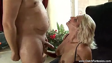 Chubby Dutch Blonde MILF Rides Cock In Holland