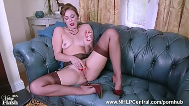 Dirty blonde Lucy Lauren masturbates in vintage brown nylons and stilettos