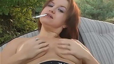 SMOKING ALHANA - Outside Topless Dangles - Bonus Inside Nude Intro Play