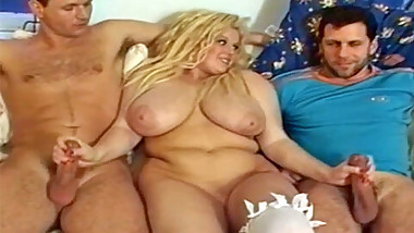 Chubby blonde with big tits takes unexpected cocks